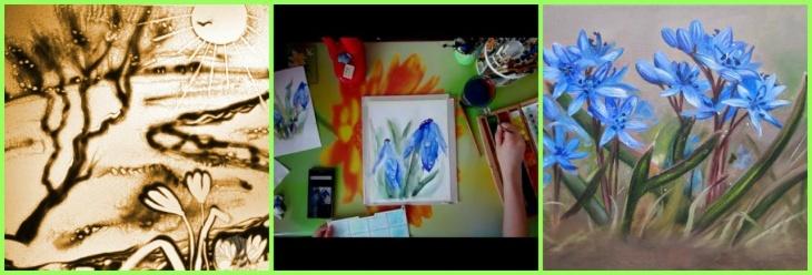 Мастер-класс два в одном : акварельная живопись «Пролески» и песочная анимация «Весенние краски» в детском клубе «Мишуткины классики»
