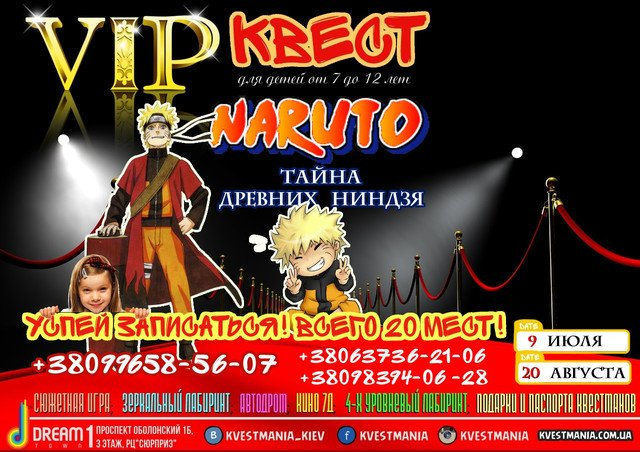 """VIP Квест для дітей """"Наруто: Таємниця древніх ніндзя"""""""