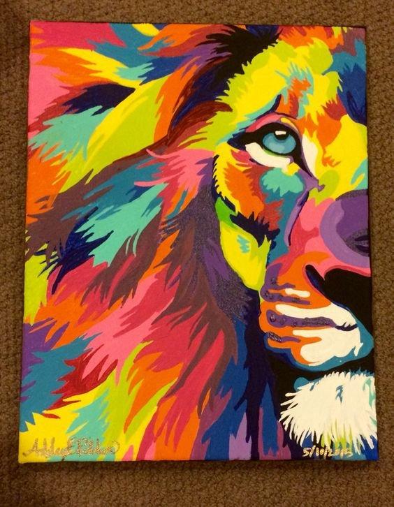Поп арт картинка лев