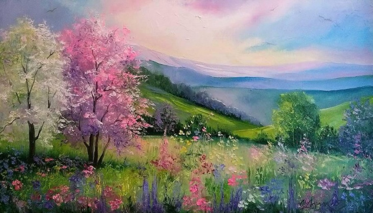 """Майстер-клас """"Малювання. Весняний пейзаж"""""""