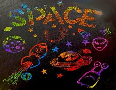 Малюємо космос в техніці граттаж