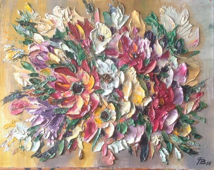 """Интуитивное Рисование. """"Цветы"""". Мастихином. Холст."""