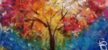 """Картина из шерсти """"Яркая осень"""""""