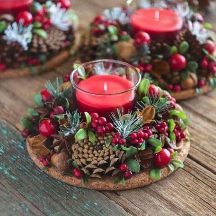Майстер-клас «Новорічна композиція зі свічкою на стіл + декупаж»