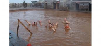 Крещенское купание в горячем гейзере