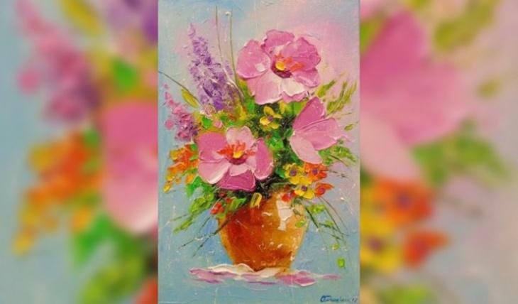 """Майстер-клас з живопису для дітей """"Вазонок з квітами"""""""