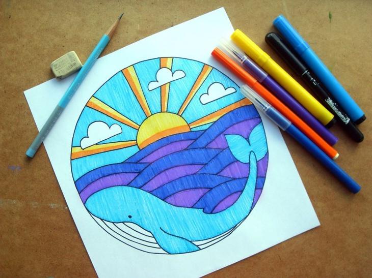 """Онлайн заняття з малювання """"Синій кит з глибин"""""""
