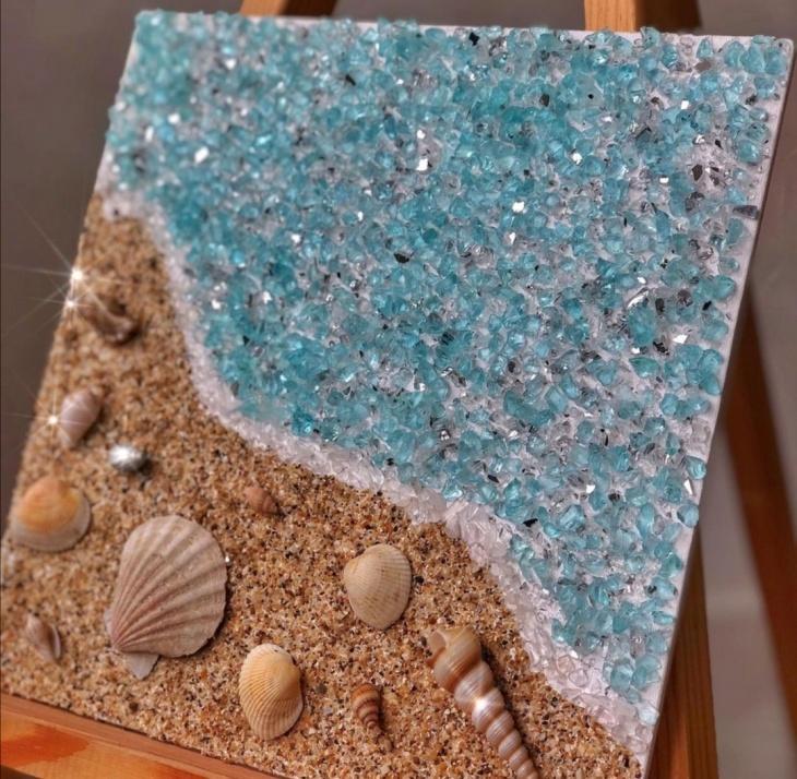 """МК """"Картина з гірського кришталю і океанічних мушель"""""""