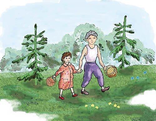 Семейная поездка в лес по грибы