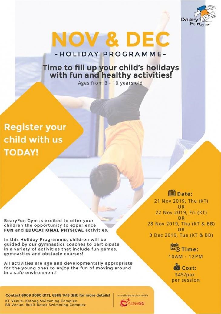 BearyFun Gym November & December Holiday Programme 2019