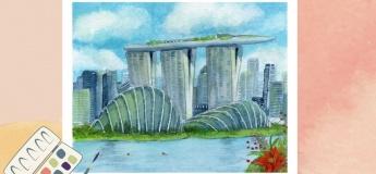 Watercolour Painting at PAssion WaVe @Marina Bay
