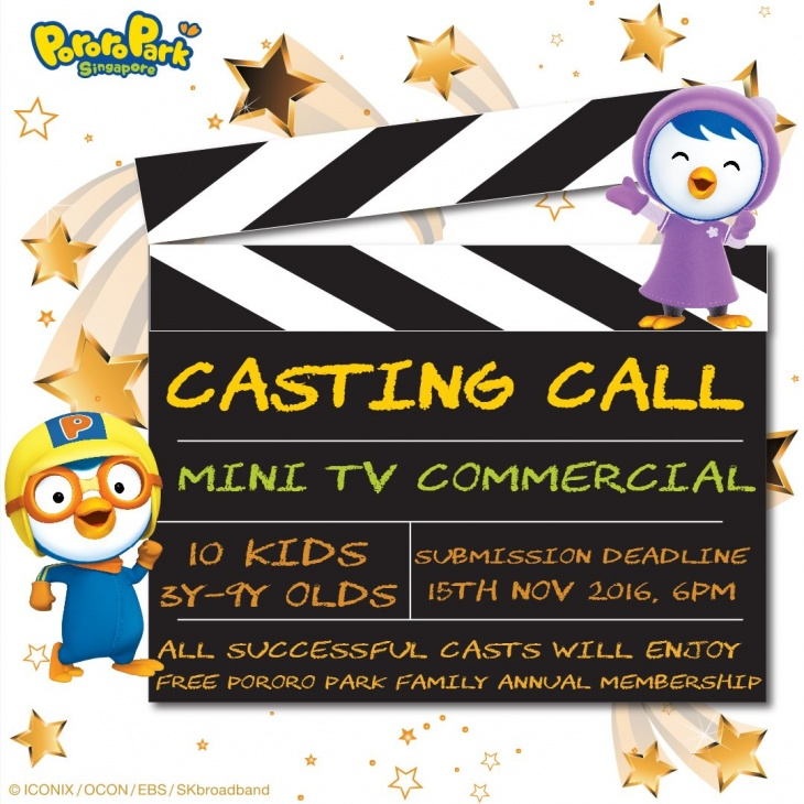 Casting Call: Mini TV Commercial from Pororo Park Singapore