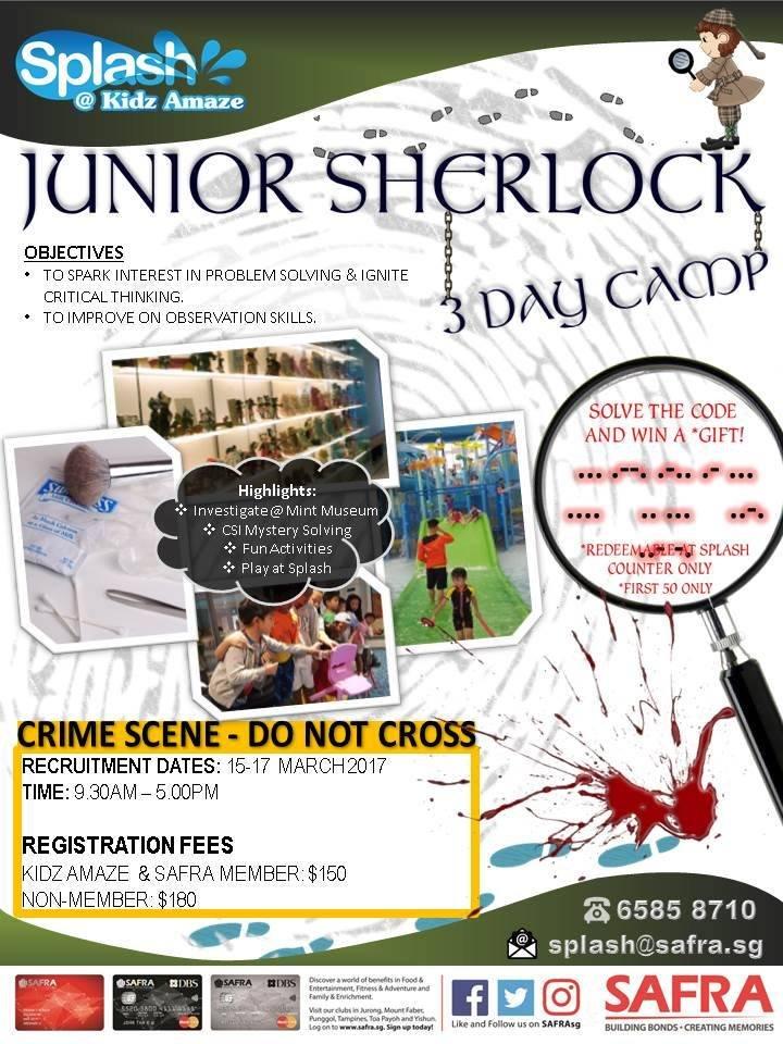 3 Day Camp: Junior Sherlock at Splash @ Kidz Amaze