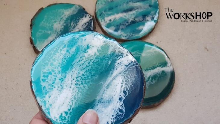 Beach Resin Painting on Wood Workshop