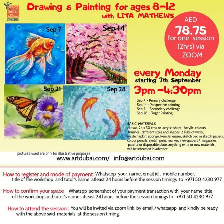 Kids Painting sessions (via zoom) every Monday with Lita Mathews