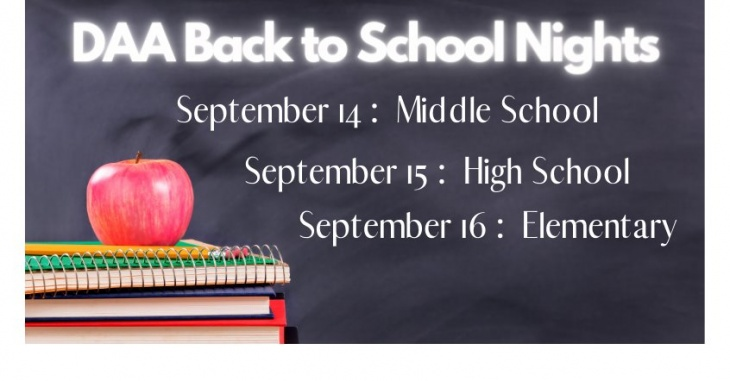 Back to School Nights for DAA Parents!