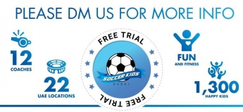 Free Trial Lessons in Selected Locations @ Soccerkids Dubai